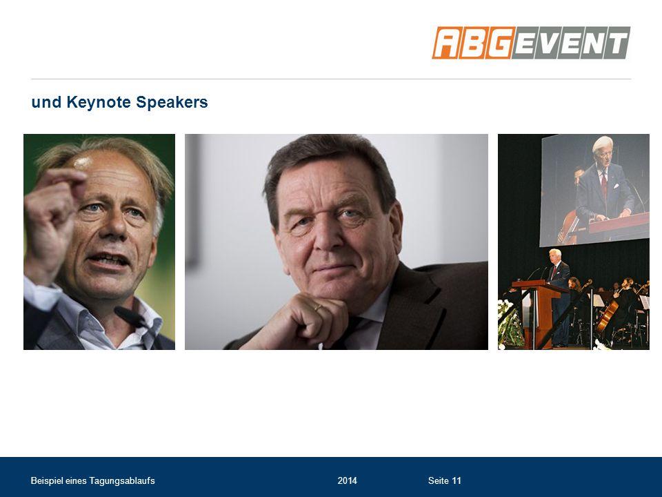 und Keynote Speakers Beispiel eines Tagungsablaufs 2014