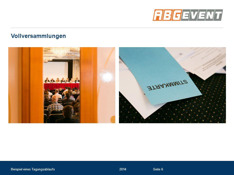Vollversammlungen Beispiel eines Tagungsablaufs 2014