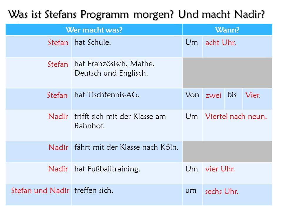 Was ist Stefans Programm morgen Und macht Nadir Wann