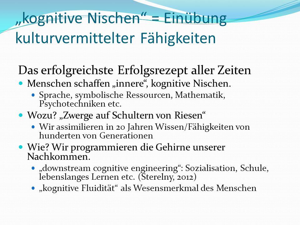 """""""kognitive Nischen = Einübung kulturvermittelter Fähigkeiten"""