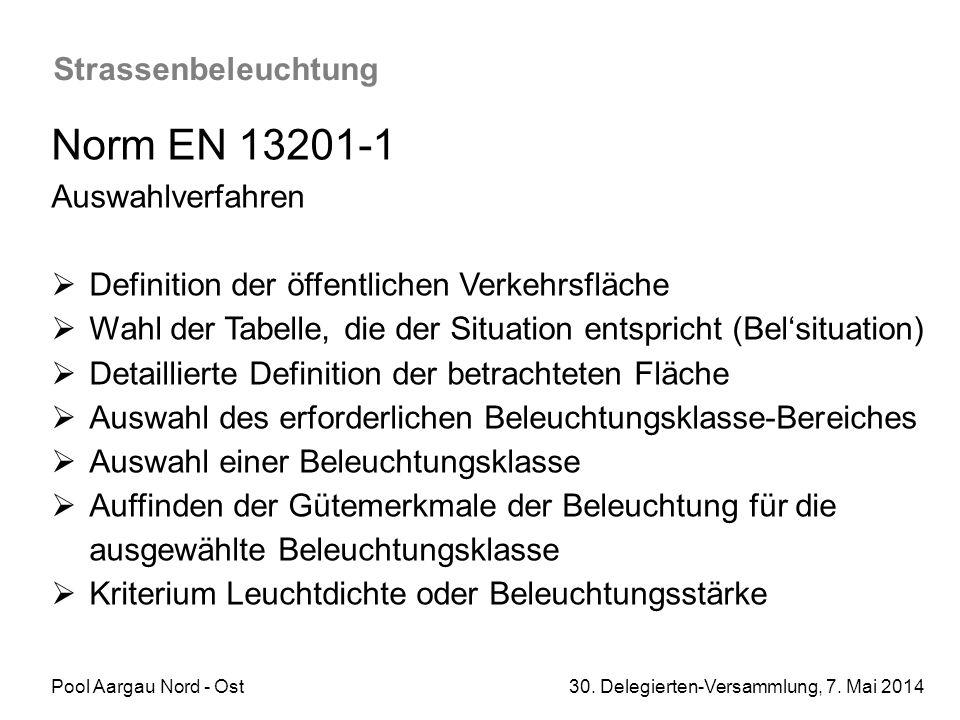 Norm EN 13201-1 Strassenbeleuchtung Auswahlverfahren