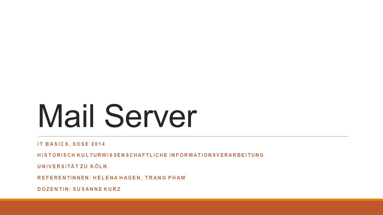 Mail Server IT Basics, Sose 2014