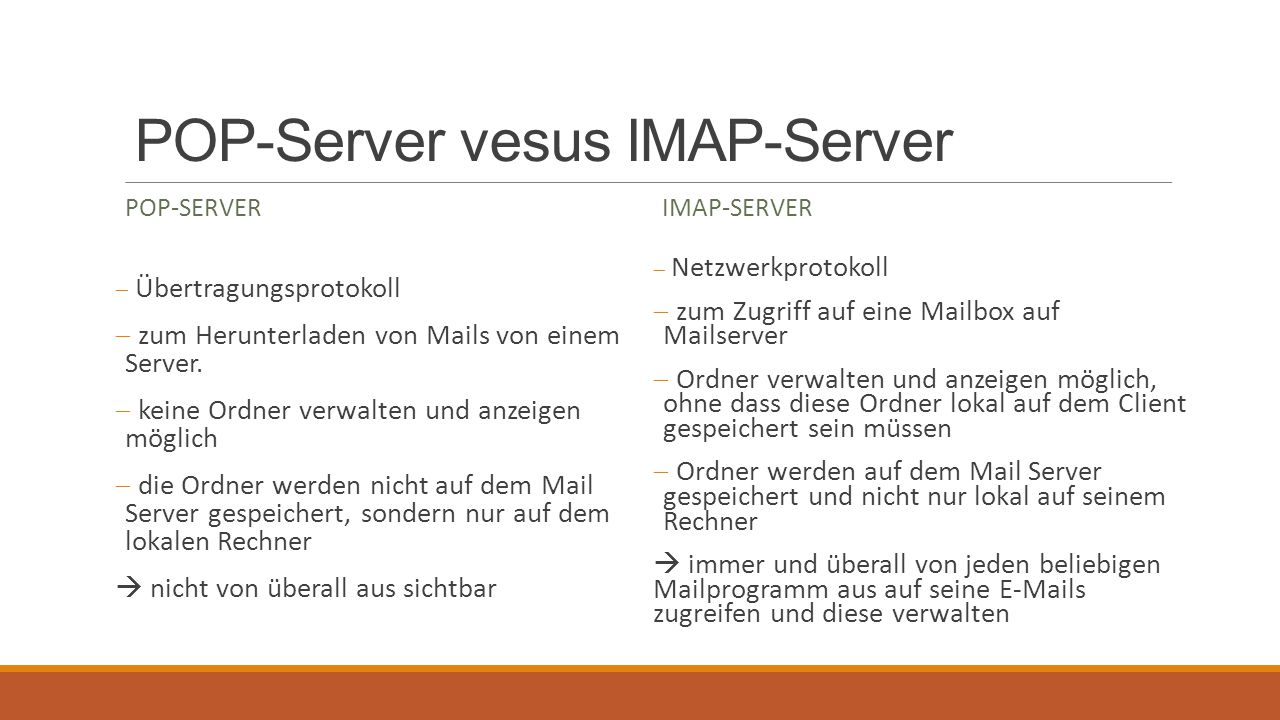 POP-Server vesus IMAP-Server