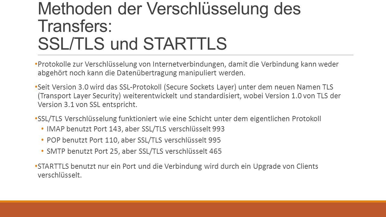 Methoden der Verschlüsselung des Transfers: SSL/TLS und STARTTLS