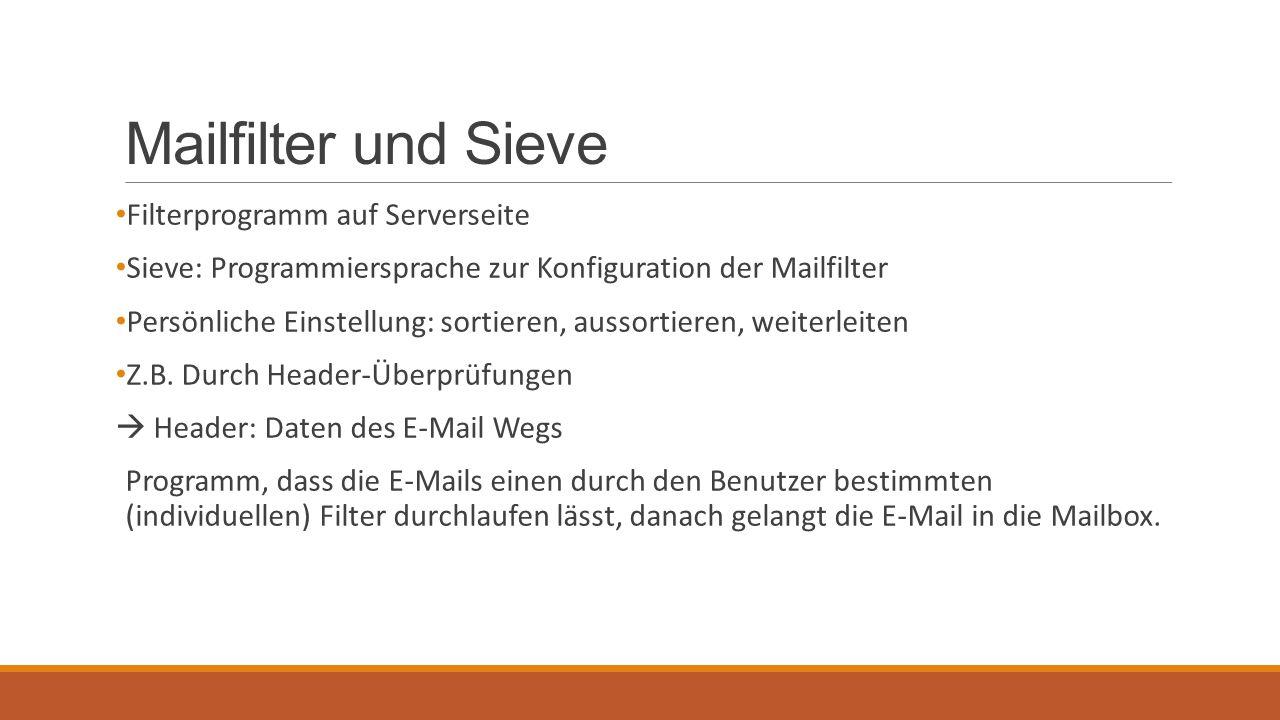 Mailfilter und Sieve Filterprogramm auf Serverseite