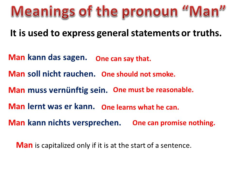 Meanings of the pronoun Man
