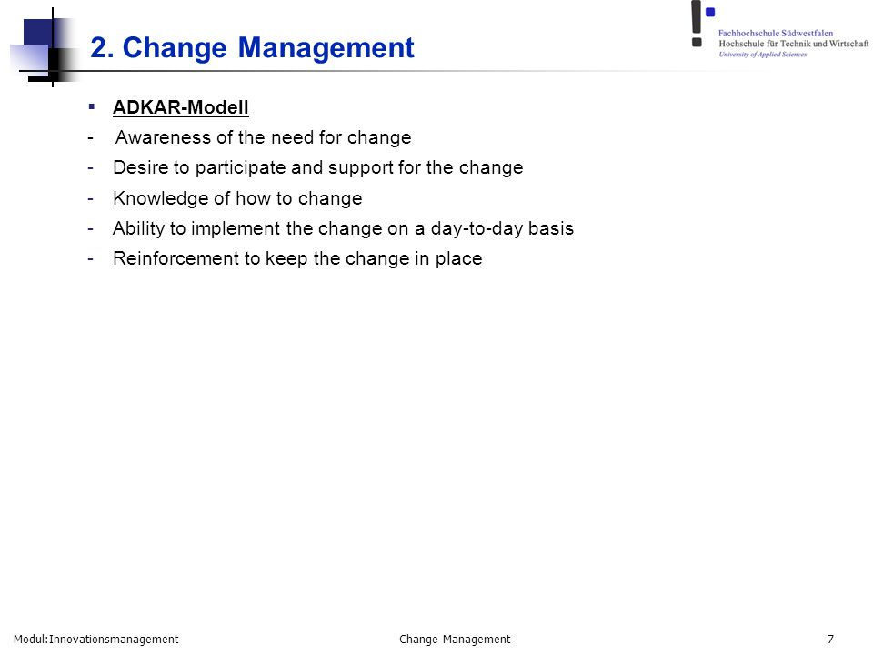 2. Change Management ADKAR-Modell - Awareness of the need for change