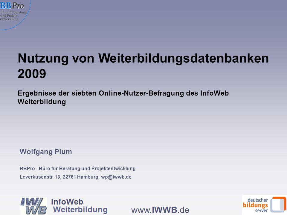 Nutzung von Weiterbildungsdatenbanken 2009