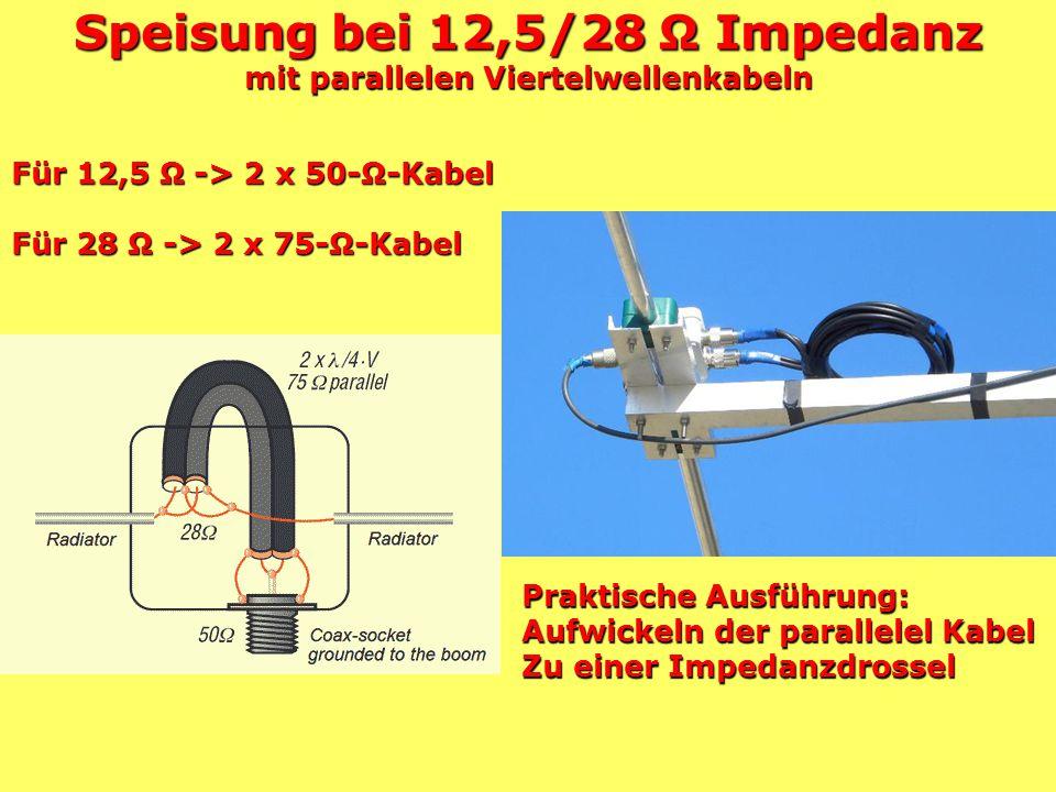 Speisung bei 12,5/28 Ω Impedanz mit parallelen Viertelwellenkabeln
