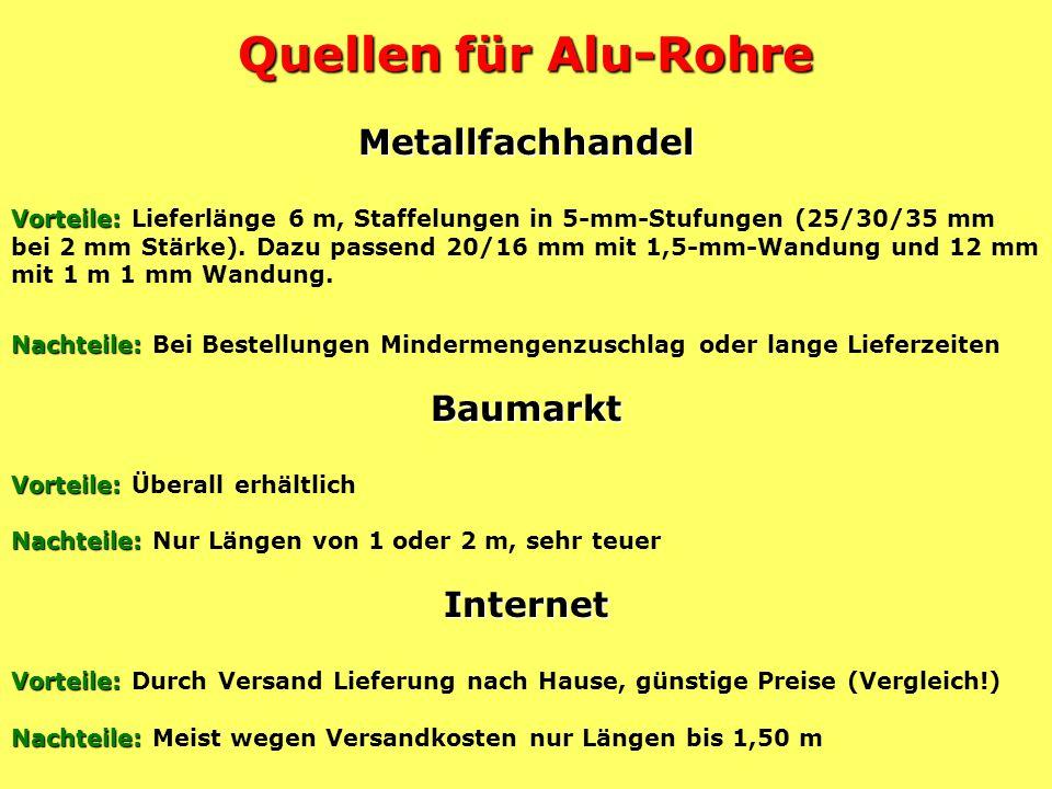Quellen für Alu-Rohre Metallfachhandel Baumarkt Internet