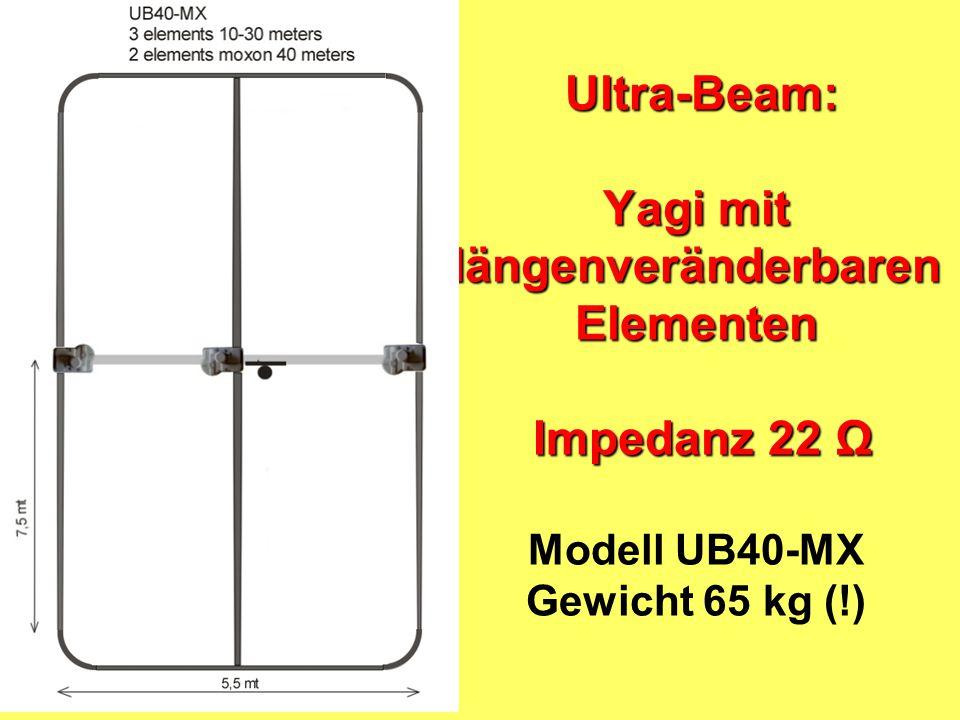 Ultra-Beam: Yagi mit längenveränderbaren Elementen Impedanz 22 Ω Modell UB40-MX Gewicht 65 kg (!)