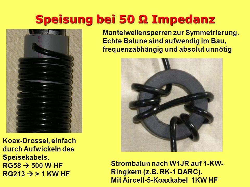 Speisung bei 50 Ω Impedanz