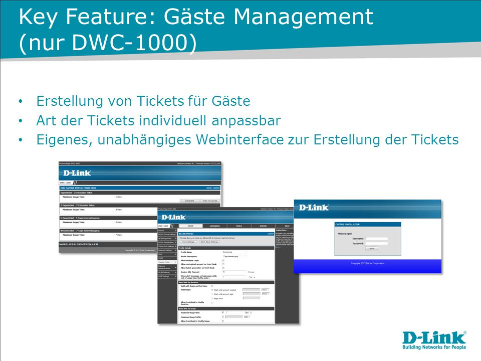 Key Feature: Gäste Management (nur DWC-1000)