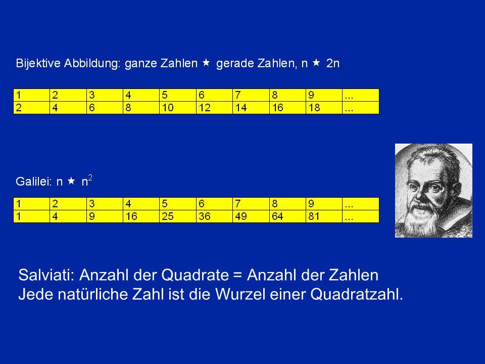 Salviati: Anzahl der Quadrate = Anzahl der Zahlen