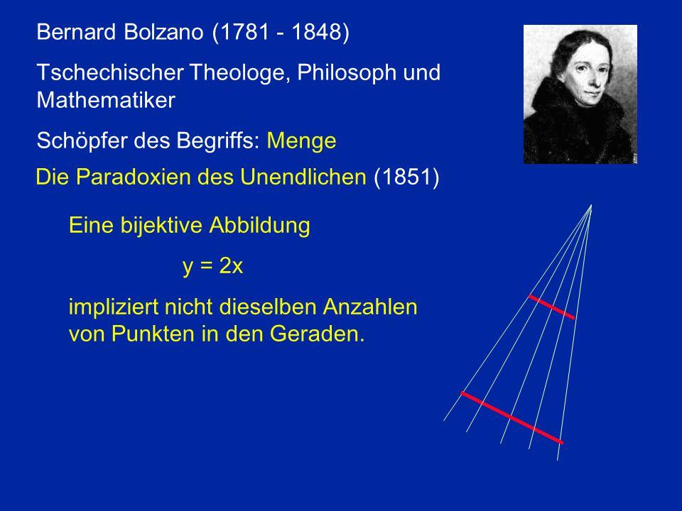 Bernard Bolzano (1781 - 1848) Tschechischer Theologe, Philosoph und Mathematiker. Schöpfer des Begriffs: Menge.