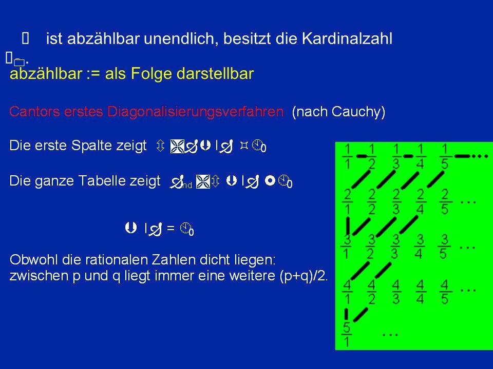 Ð ist abzählbar unendlich, besitzt die Kardinalzahl À0.