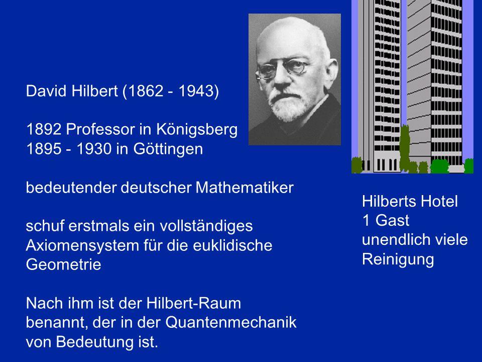 David Hilbert (1862 - 1943) 1892 Professor in Königsberg. 1895 - 1930 in Göttingen. bedeutender deutscher Mathematiker.