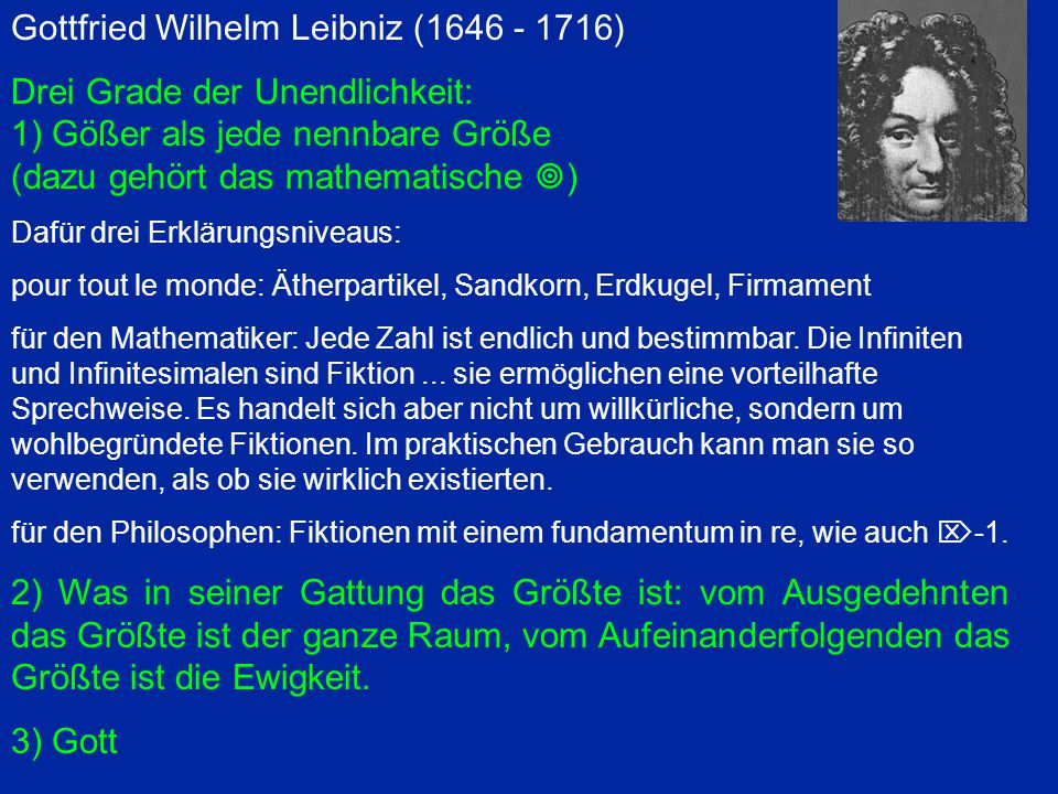 Gottfried Wilhelm Leibniz (1646 - 1716) Drei Grade der Unendlichkeit: