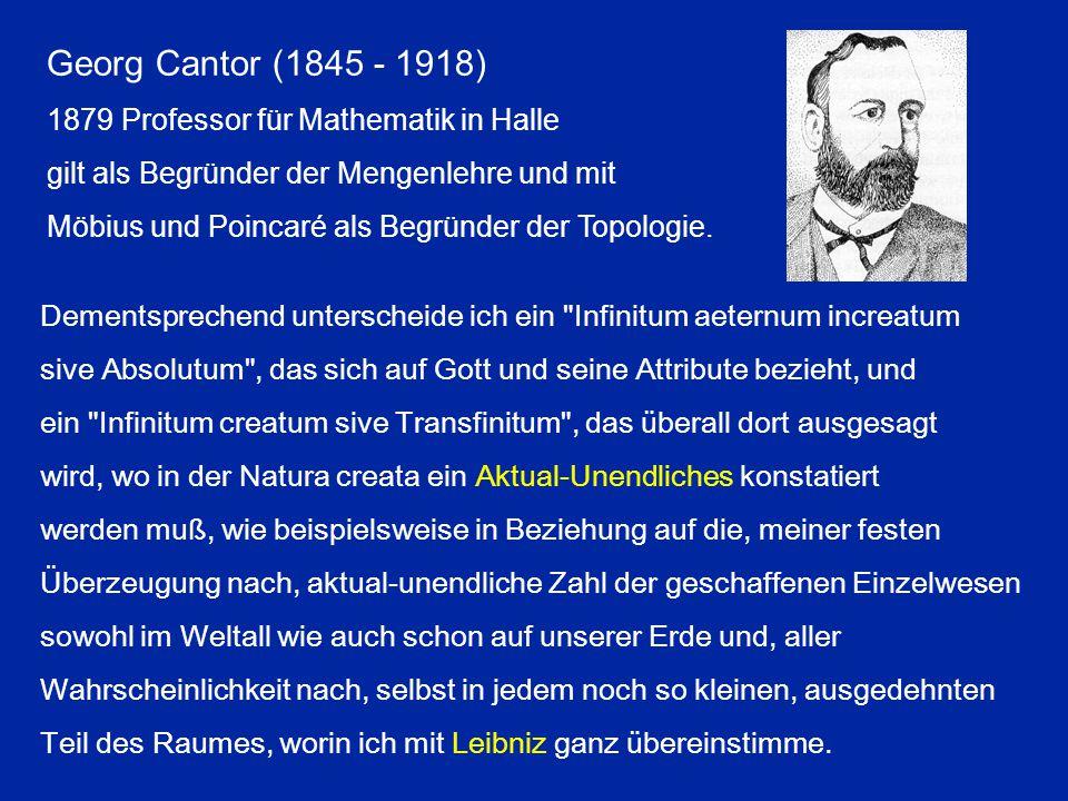 Georg Cantor (1845 - 1918) 1879 Professor für Mathematik in Halle