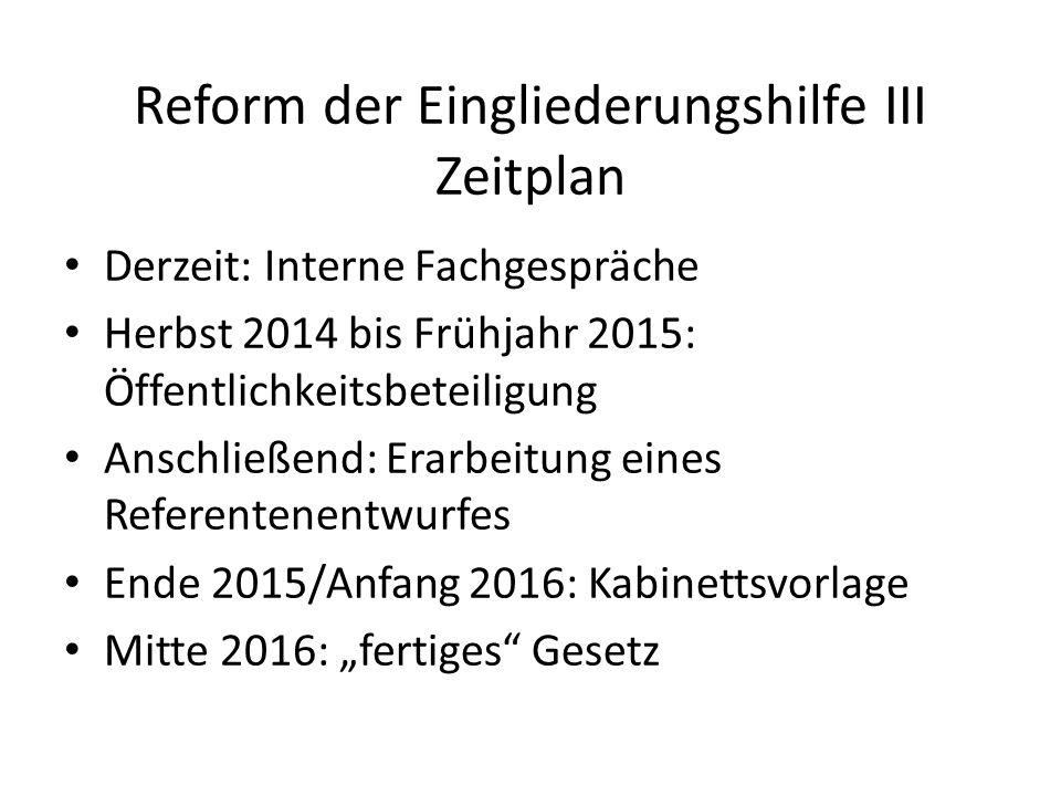 Reform der Eingliederungshilfe III Zeitplan