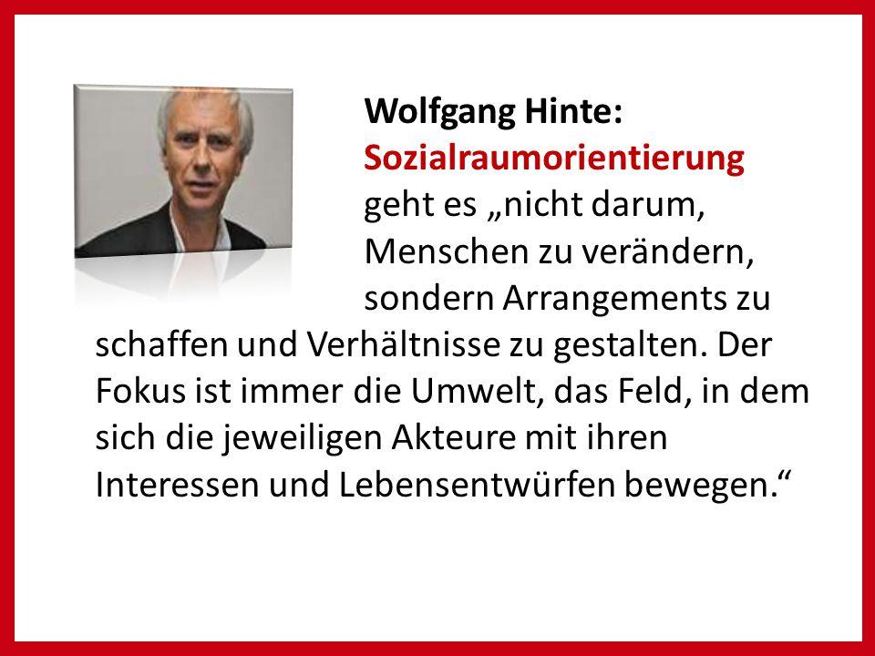 """Wolfgang Hinte: Sozialraumorientierung geht es """"nicht darum, Menschen zu verändern, sondern Arrangements zu."""