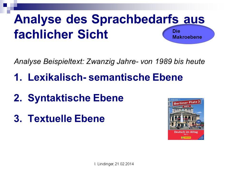 Analyse des Sprachbedarfs aus fachlicher Sicht Analyse Beispieltext: Zwanzig Jahre- von 1989 bis heute