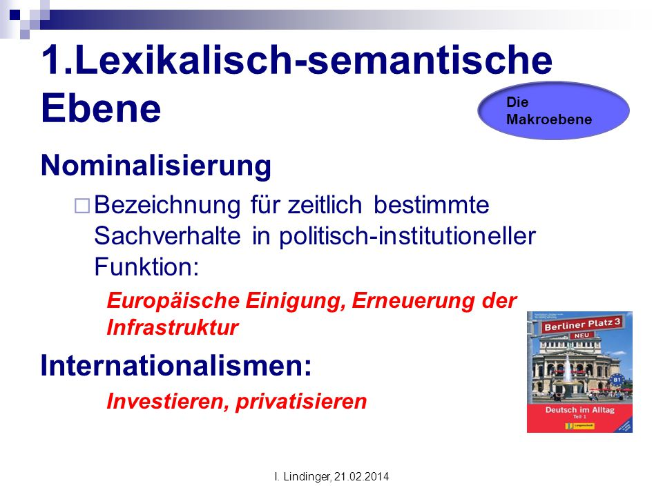 1.Lexikalisch-semantische Ebene