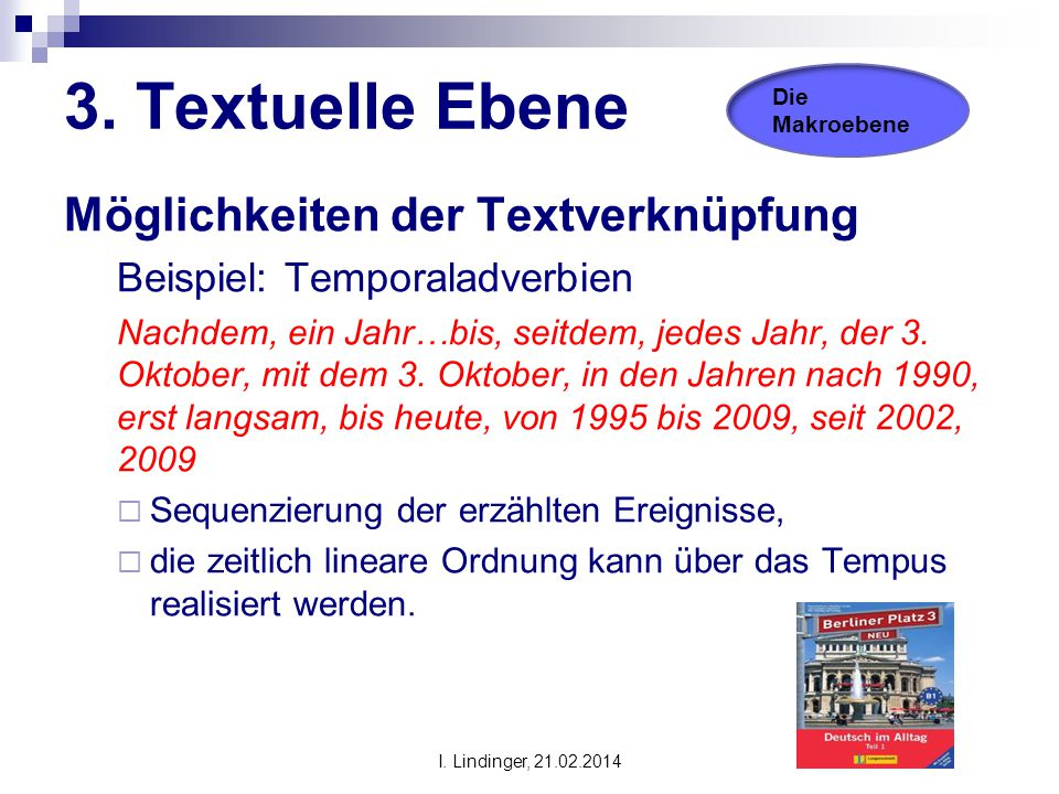 3. Textuelle Ebene Möglichkeiten der Textverknüpfung