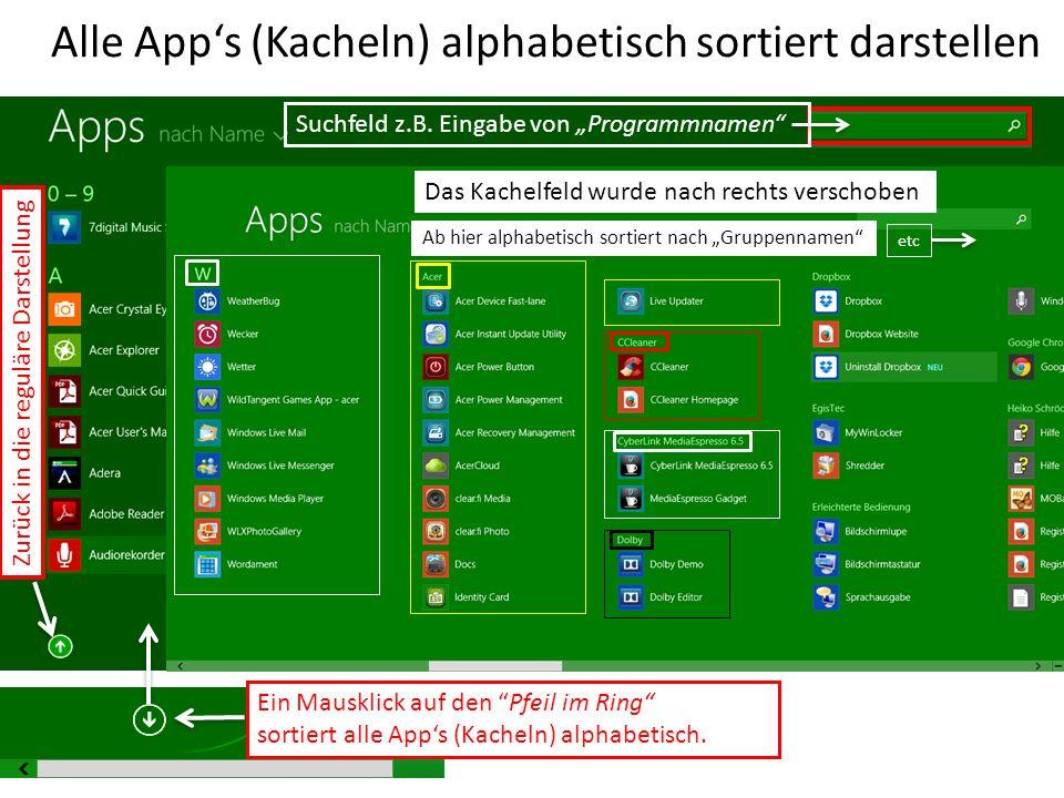 Alle App's (Kacheln) alphabetisch sortiert darstellen