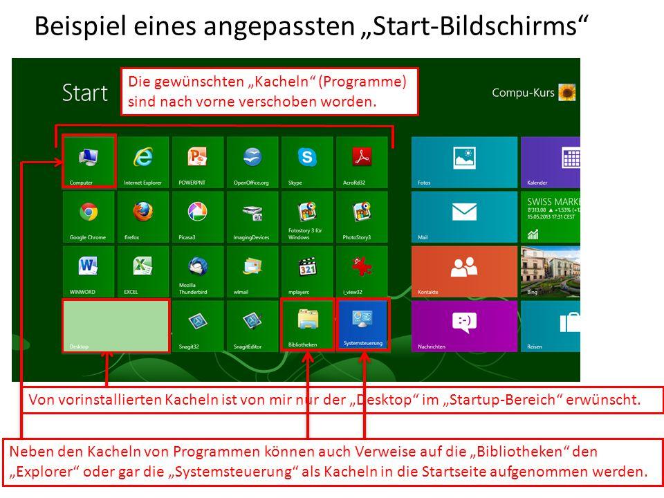 """Beispiel eines angepassten """"Start-Bildschirms"""