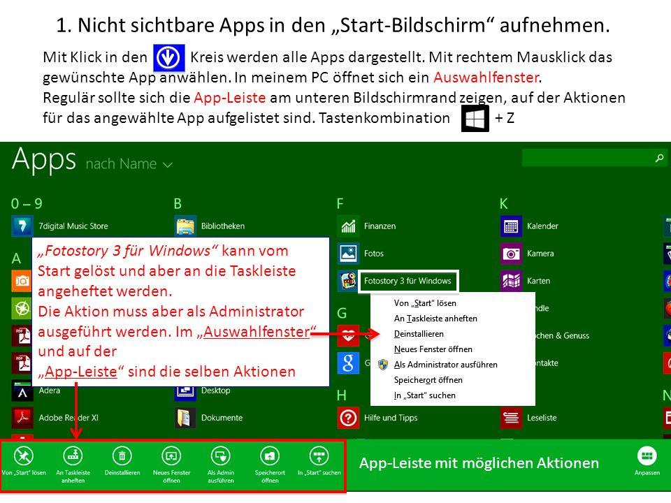 """1. Nicht sichtbare Apps in den """"Start-Bildschirm aufnehmen."""