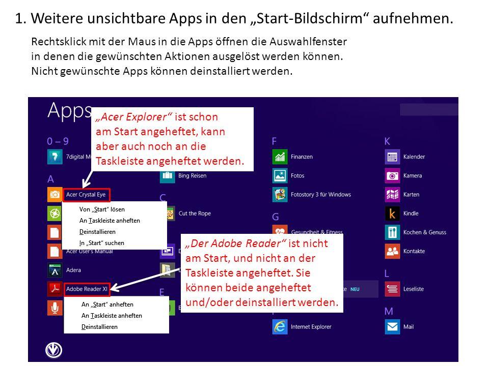 """1. Weitere unsichtbare Apps in den """"Start-Bildschirm aufnehmen."""