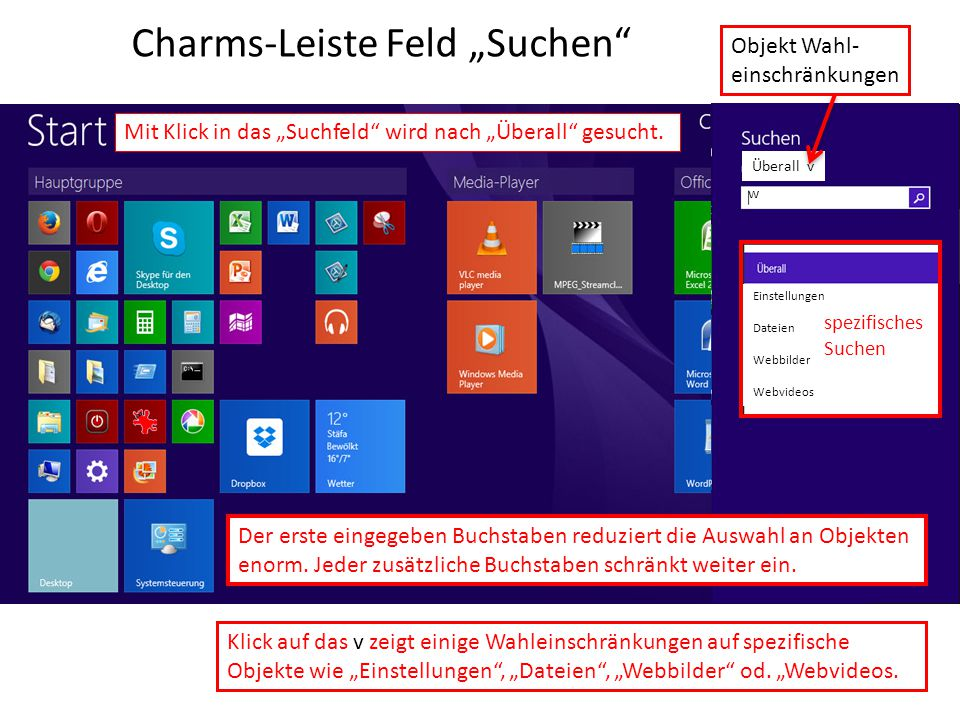 "Charms-Leiste Feld ""Suchen"