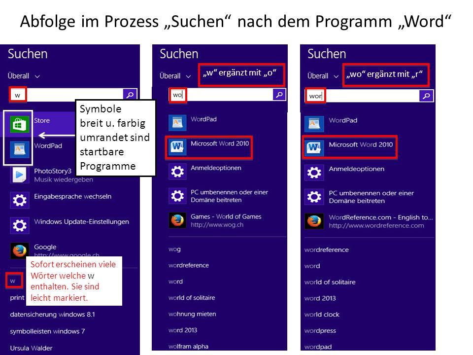 """Abfolge im Prozess """"Suchen nach dem Programm """"Word"""