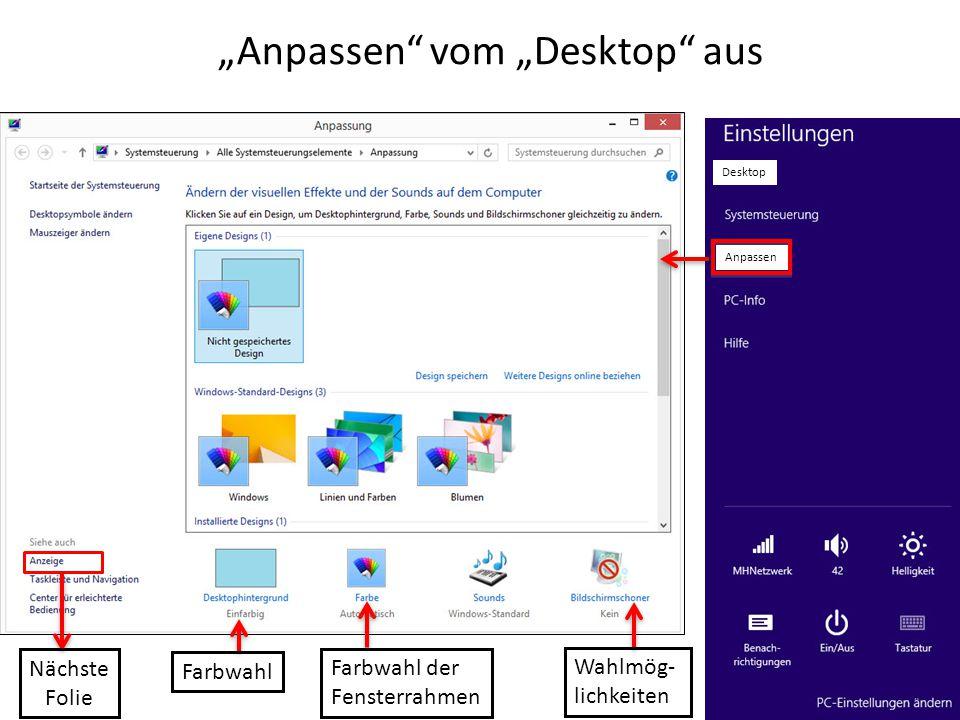 """""""Anpassen vom """"Desktop aus"""