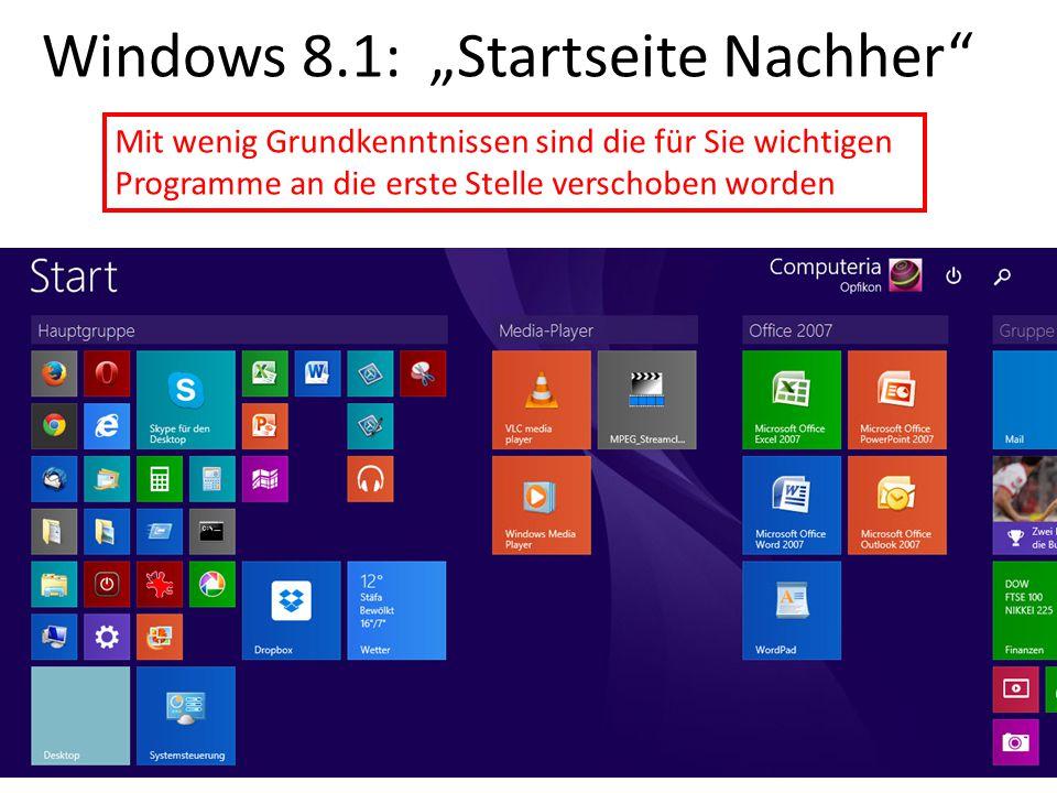 """Windows 8.1: """"Startseite Nachher"""