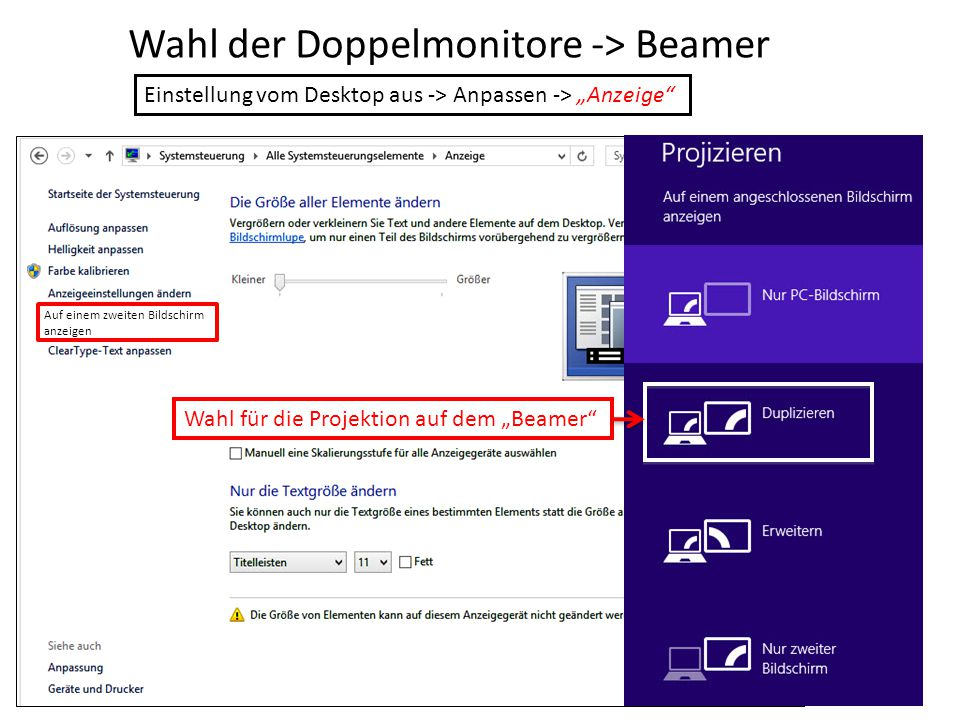 Wahl der Doppelmonitore -> Beamer