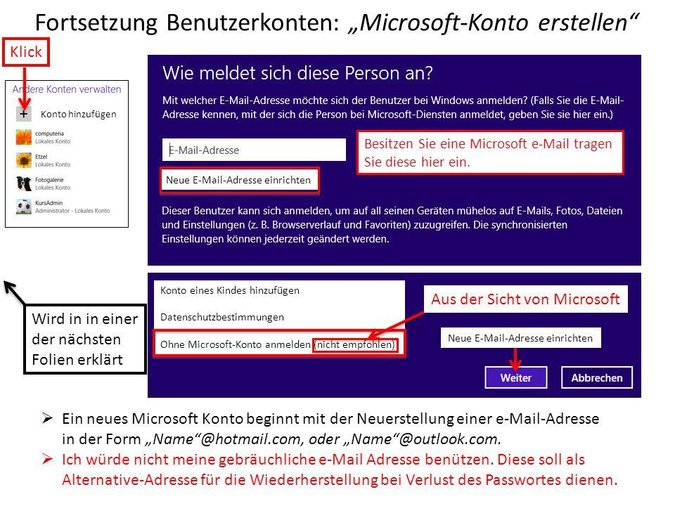 """Fortsetzung Benutzerkonten: """"Microsoft-Konto erstellen"""