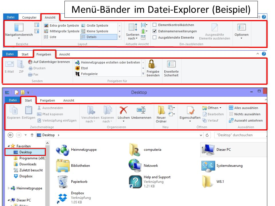 Menü-Bänder im Datei-Explorer (Beispiel)