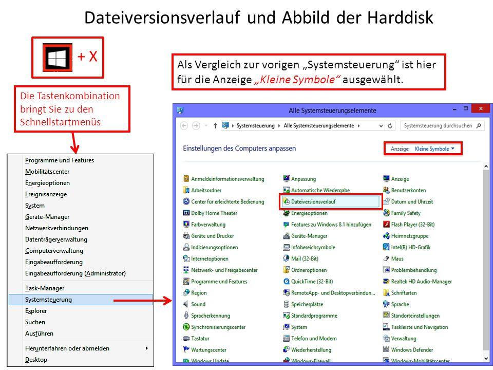 Dateiversionsverlauf und Abbild der Harddisk