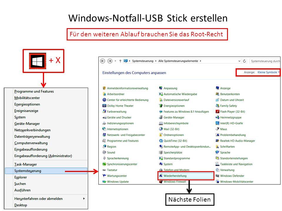 Windows-Notfall-USB Stick erstellen
