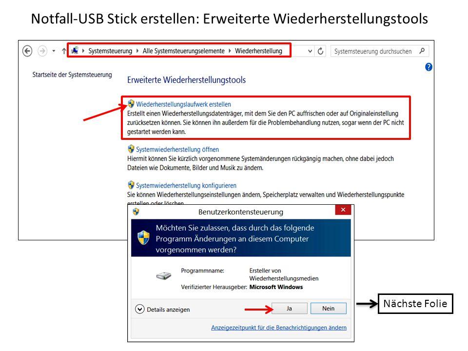 Notfall-USB Stick erstellen: Erweiterte Wiederherstellungstools