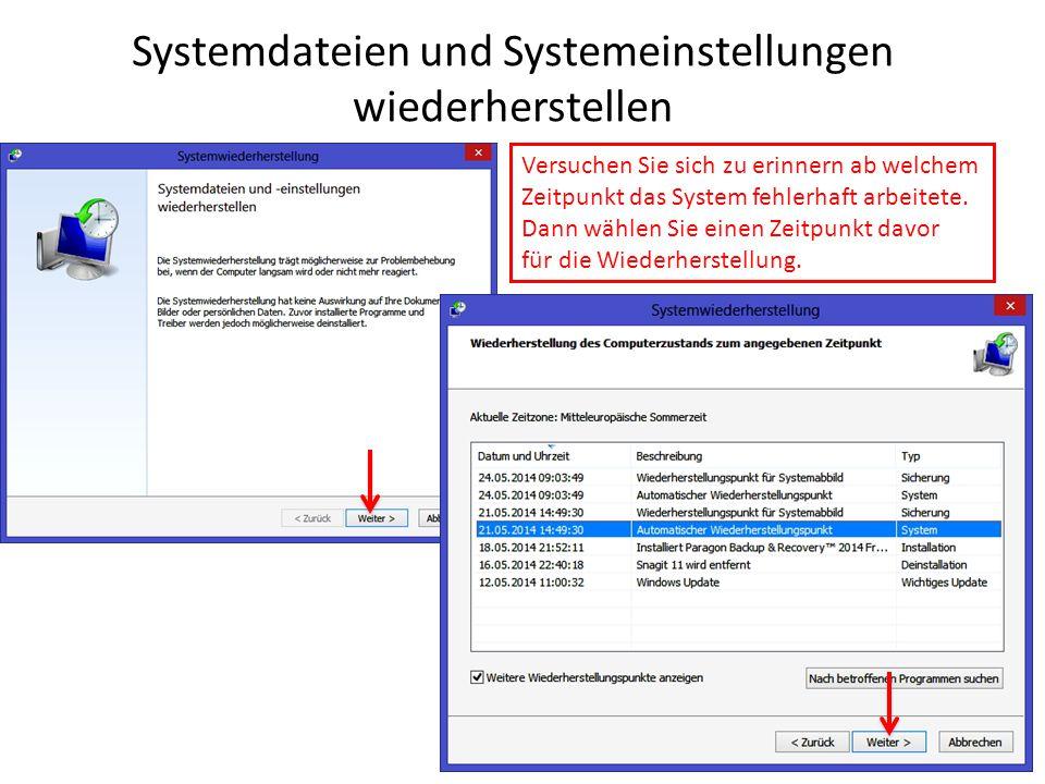 Systemdateien und Systemeinstellungen wiederherstellen