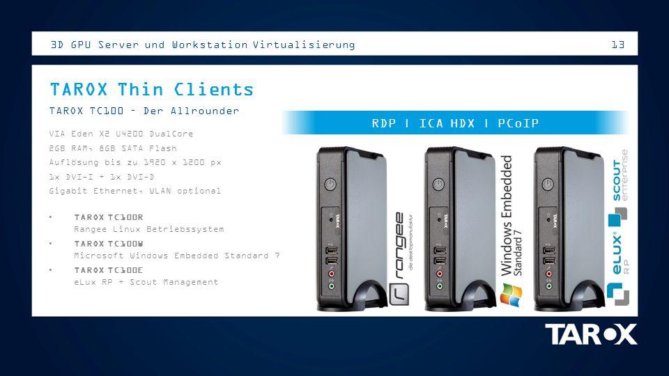 TAROX Thin Clients RDP | ICA HDX | PCoIP