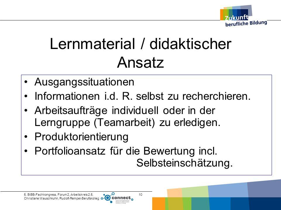 Lernmaterial / didaktischer Ansatz