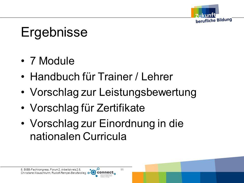 Ergebnisse 7 Module Handbuch für Trainer / Lehrer