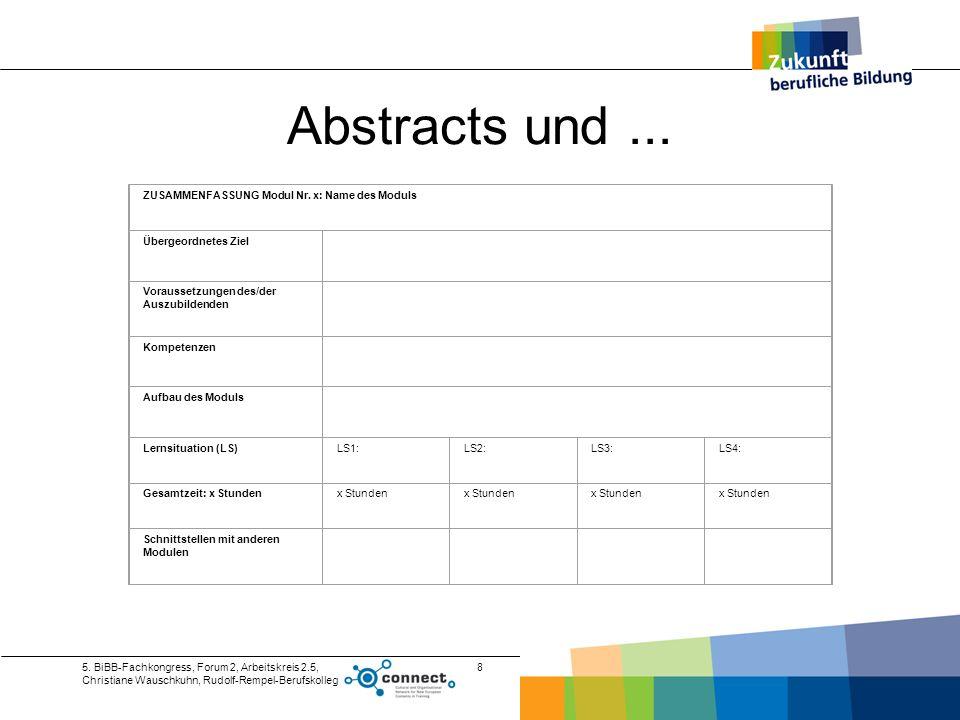 Abstracts und ... ZUSAMMENFASSUNG Modul Nr. x: Name des Moduls