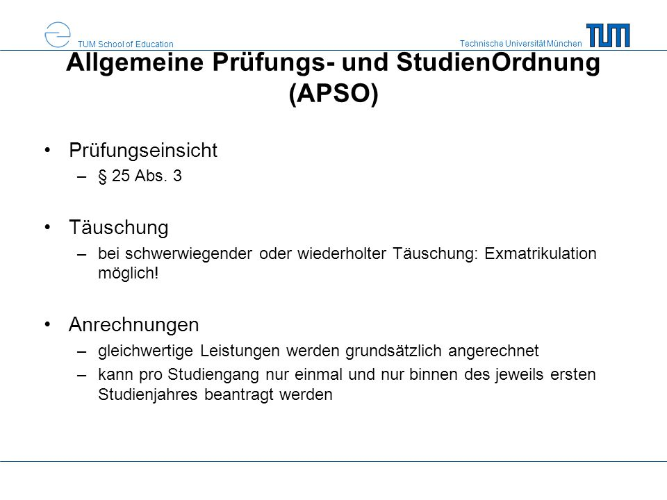 Allgemeine Prüfungs- und StudienOrdnung (APSO)