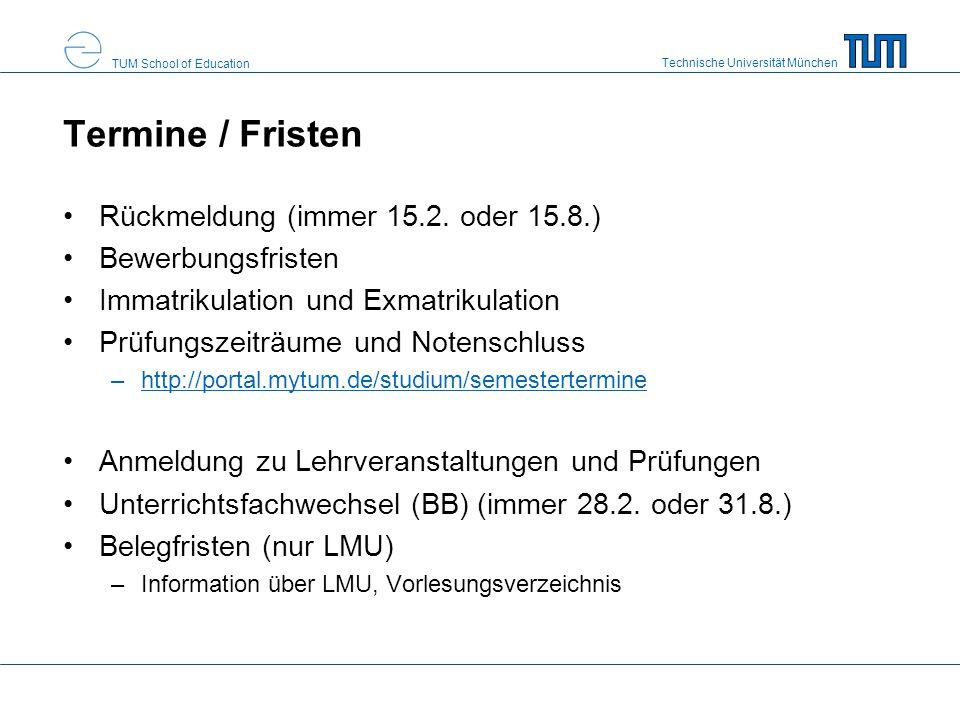 Termine / Fristen Rückmeldung (immer 15.2. oder 15.8.)