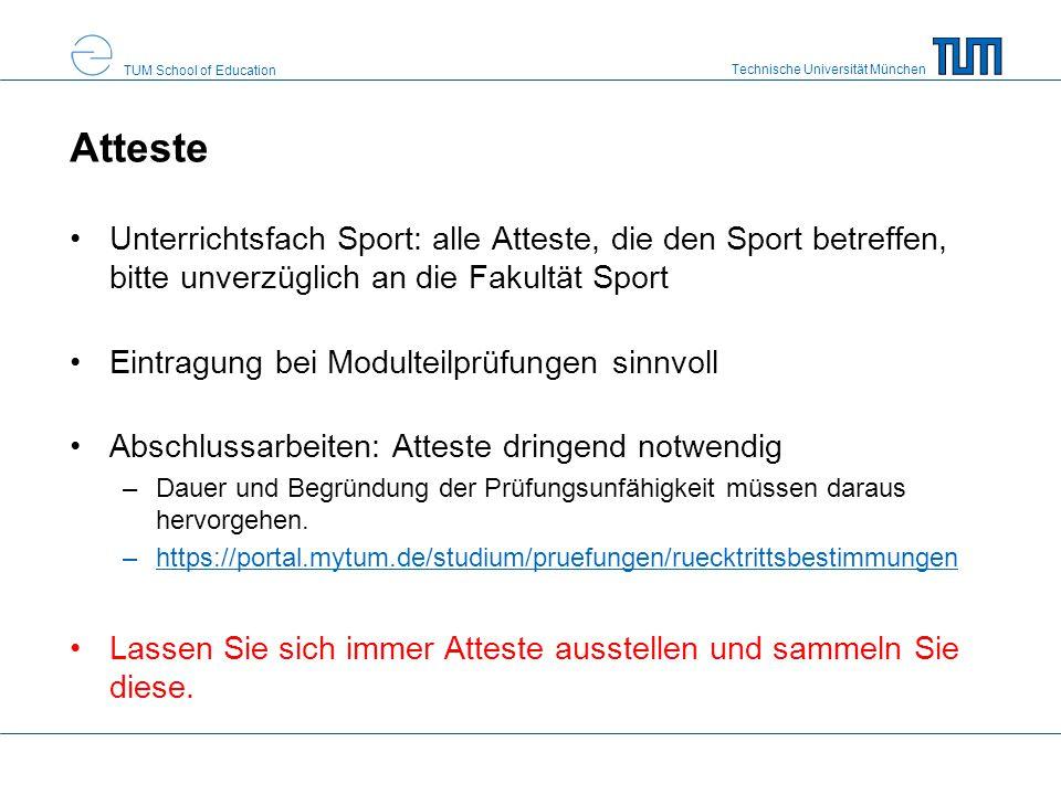 Atteste Unterrichtsfach Sport: alle Atteste, die den Sport betreffen, bitte unverzüglich an die Fakultät Sport.